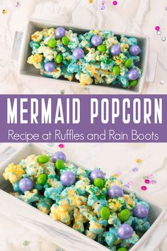 Easy Mermaid Popcorn - Mermaid Party - Food, Crafts, Decor, and Fun! - The kids went crazy over this ridiculously easy mermaid popcorn I put together for family movie nig - Mermaid Party Food, Mermaid Party Decorations, Mermaid Theme Birthday, Little Mermaid Parties, Birthday Party Themes, Food For Birthday Parties, Little Mermaid Food, Sea Party Food, Mermaid Kids