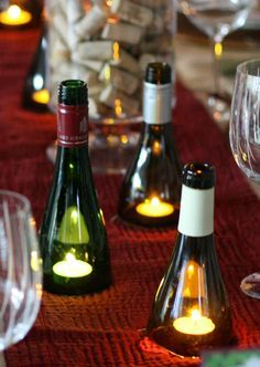 A classy conversation starter, these carefully cut wine-bottle spouts impress guests and protect candle flames from evening breezes. Click through for a how-to and more DIY outdoor lighting ideas perfect for your next backyard party.