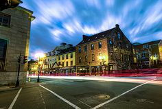 Water Street Light Trail by gord_follett Light Trail Photography, Street Photography, Light Trails, Architecture Board, Newfoundland And Labrador, Beautiful Islands, The World's Greatest, Places To Travel, St John's