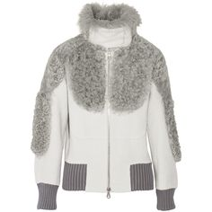 Marc Jacobs Shearling-trimmed alpaca-blend bomber jacket, Light Gray,... (93.270 RUB) ❤ liked on Polyvore featuring outerwear, jackets, bomber jackets, giacche, light gray jacket, woven jacket, woven bomber jacket and light grey jacket
