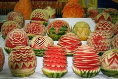 fruit carvings, in this case watermelons