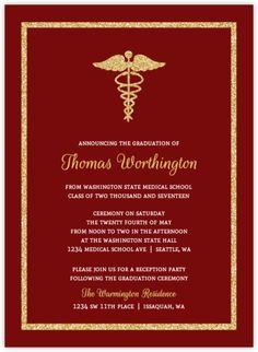 20 graduation party invitations dr medical doctor ebay doctor bold gold faux glitter medical school graduation invitation filmwisefo