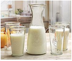 Circleware Ranch Rooster Set of 5 416 Ounce Glass Milk Drink Bottles 140 Ounce Carafe Water Juice Pitcher Limited Edition Glassware Drinkware >>> You can get additional details at the image link.