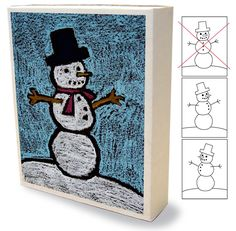 Drawing on a box. Art Projects for Kids: winter #snowman