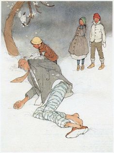 """from 1984 Illustrations for Oscar Wilde's """"The Selfish Giant""""--One day the Giant disappears, only to come back many years later, as an old man returning to die under the tree which he helped the children to climb, covered in white spring blossoms - by Lisbeth Zwerger (b. 1954), Austrian (pasalavida)"""