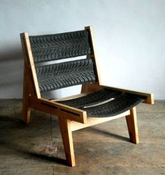 Upcycled chair made with old tyres