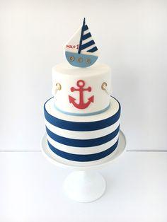 Nautical Birthday Cakes, Nautical Cake, Baby Birthday Cakes, Torta Baby Shower, Baby Shower Cakes For Boys, Sailor Cake, Boat Cake, Homemade Fondant, Wedding Shower Cakes