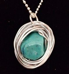 Beautiful Turquoise Nest Pendant Wrapped in by BlessMyNestShop, $25.00