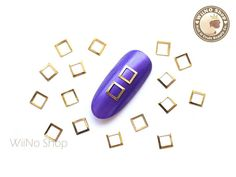 5mm Gold Square Hollow Frame Nail Art Decoration - 20 pcs