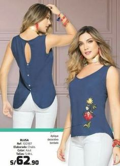 Blusa moda colombiana vikats - ref. Blouse Patterns, Blouse Designs, Sewing Patterns, Top Secret, Blouse Styles, Blouses For Women, Ideias Fashion, Casual, Fashion Dresses