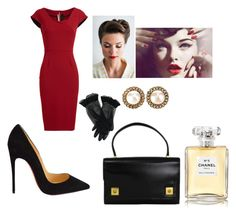 """This outfit is very seducing and classy at the same time"" by chanel-xoxo123 ❤ liked on Polyvore featuring Roland Mouret, Christian Louboutin, Hermès, Retrò, Chanel and vintage"