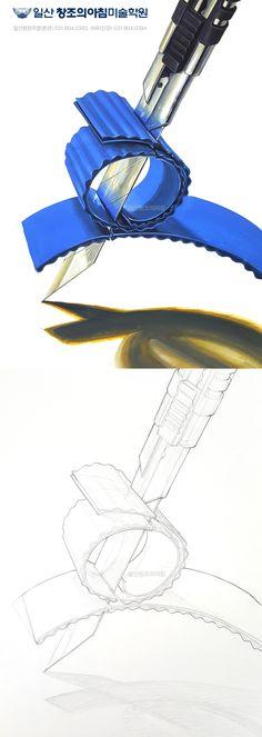 기초디자인 개체묘사 : 컷터칼+골판지 #기초디자인 #컷팅칼 #골판지 #일산창조의아침 #일산입시미술학원 #창조의아침 #연구작 #일러스트 #art #pictures #graphite #illustrations #sketches #artistic_share #sketching #sketched #graphic #drawing #sketchs Band, Drawings, Painting, Sash, Painting Art, Sketches, Paintings, Drawing, Painted Canvas