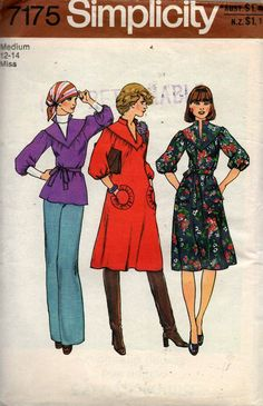 Simplicity 7175 Womens Hippie Dress or Top 70s Vintage Sewing Pattern size MEDIUM 12 - 14 Bust 34 - 36 inches UNCUT Factory Folded