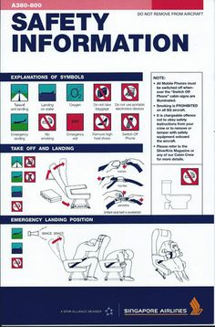 Singapore Airlines New A380 Safety card