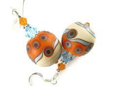 Orange Dangle Earrings, Glass Bead Earrings, Lampwork Earrings, Ivory Beaded Earrings, Lampwork Jewelry. $31.00, via Etsy.
