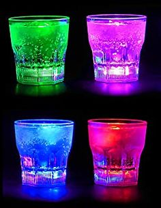 Light Up LED Rock Glasses are a great way to brighten the glow party. The glowing light up rock glasses are light up drink glasses with 8 color modes.