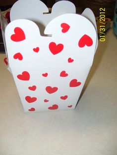 """A cute heart box we used to put the """"candy"""" in."""