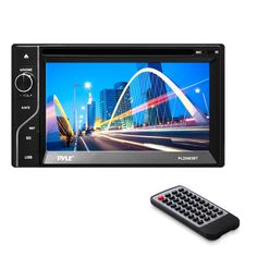 "Pyle PLDN63BT Double DIN Bluetooth 6.5-Inch Touch-Screen CD/DVD Player. Multi-Function Digital Dashboard-Console Headunit Stereo Radio Receiver. Built-in Bluetooth for Wireless Audio Streaming - Built-in Microphone for Hands-Free Calling. Hi-Res 6.5"" Touchscreen Display - User-Friendly Control Interface - Rear Aux (RCA) Inputs/Outputs. USB & Micro SD Card Readers - CD/DVD Player - AM/FM Radio - Digital Media File Support. Includes Remote Control - Double DIN Universal Size Standard…"