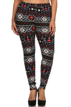 Reindeer Hearts Snowflake Design Plus Size Leggings – Niobe Clothing