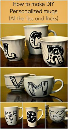 Tip: place Mugs in Cold Oven then tien heat on to 350 degrees for 30 minutes. Turn off heat and leave Mugs in oven for 1 hour. DIY Personalized Mugs Sharpie Crafts, Sharpie Art, Sharpie Markers, Sharpies, Crafts To Make And Sell, How To Make Diy, Craft Gifts, Diy Gifts, Sharpie Colors