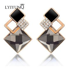 Love Magic Cube Rose Gold Color Small Clear Zirconia Inside Square Hollow Out Long Tassel Woman Drop Earring Wholesale Earrings