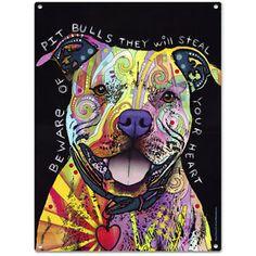 Dean-Russo-Beware-Pit-Bull-Metal-Sign-Dog-Heart-Steel-Pop-Art-Wall-Decor-12x16