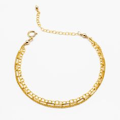 Featuring a triple strand of chains, this delicate gold-fill bracelet brings an instant layered look to your wrist. Wear as a single piece for simple elegance, or mix and . Gold Filled Jewelry, Gold Jewelry, Gold Necklace, Layered Bracelets, Layered Look, Simple Elegance, Single Piece, Chains, Layers