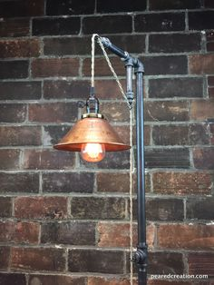 Industrial Floor Lamp - Copper Shade - Edison Bulb  - Industrial Furniture - Steampunk - Barn Light by newwineoldbottles on Etsy https://www.etsy.com/listing/243722351/industrial-floor-lamp-copper-shade