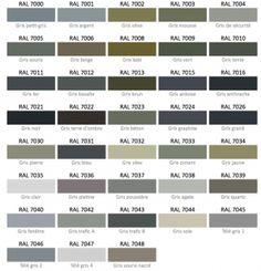 Les teintes de gris nuancier RAL
