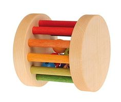 Grimms Shake Rattle  Roll Baby Toy  Mini Wooden Rainbow Rolling Wheel >>> You can get more details by clicking on the image.