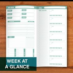 Items similar to Week at a Glance Standard Midori Travellers Notebook Printable Template Habit Tracker Priority Planner Week on 2 Pages Fauxdori on Etsy
