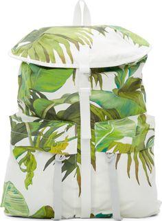 Off-White White Banana Leaves Print Backpack