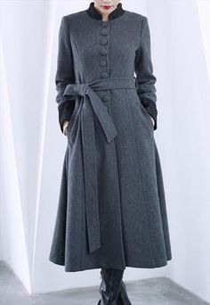 2 colors belt long sleeve long wool coat