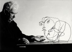 "kvetchlandia:  Ugo Mulas     Alexander Calder with One of His Wire Sculptures     1963""I think best in wire."" Alexander Calder, 1925"