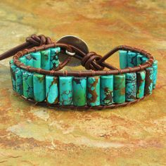 Turquoise Leather Thai Hill Tribe Silver Bracelet by YarrowJewelry Jewelry Art, Gemstone Jewelry, Beaded Jewelry, Jewelry Bracelets, Silver Jewelry, Jewelry Design, Leather Accessories, Leather Jewelry, Turquoise Jewelry