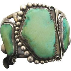 Native American Sterling Silver Juanita Villa Cuff Bracelet w/3 Large Turquoise Stones