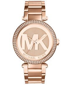 579a4b7514aa Michael Kors Mid-Size Rose Goldtone Stainless Steel Parker Three-Hand Glitz Watch  Rose goldtone Case  Band  Water-resistant to Single deployant closure