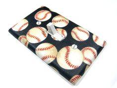 Light Switch Cover Navy Blue Baseball Decor Sports Nursery Theme Girls Softball Switchplate Switch Plate 929. $10.00, via Etsy.
