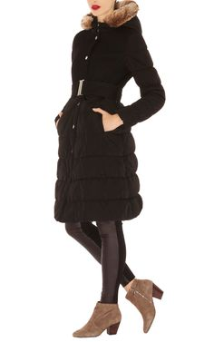 Wool and contrast fabric coat with fur trim £295 I need this to keep me warm at rugby!
