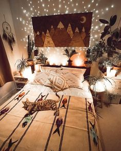 Home interior design — absolutely cozy bedroom in 2019 Home Design, Home Interior Design, Bed Design, Design Ideas, Bohemian Bedroom Decor, Gypsy Home Decor, Bohemian Room, Stylish Bedroom, Cozy Room