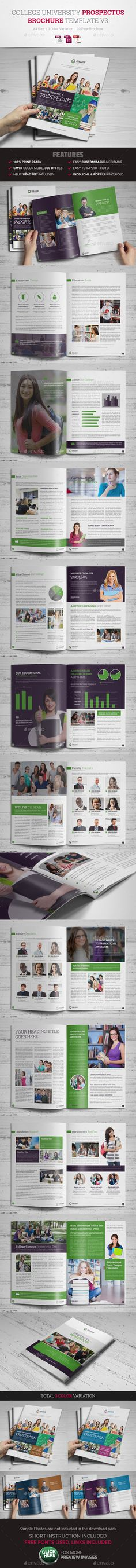 College University Prospectus/ Brochure Template #design Download: http://graphicriver.net/item/college-university-prospectus-brochure-template-3/10420246?ref=ksioks