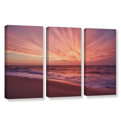 Outer Banks Sunset Iii by Dan Wilson 3 Piece Gallery-Wrapped Canvas Set