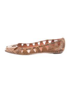 Alaïa Python Peep-Toe Flats