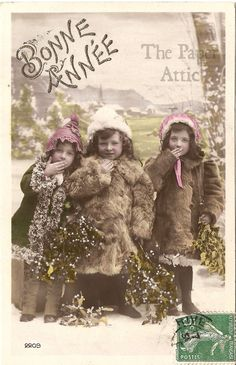 Cute Little Girls in Fur Coats in Snow Antique French Christmas Photo Postcard #Christmas