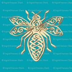 Celtic Bee Stencil - gold - Spoonflower custom fabrics