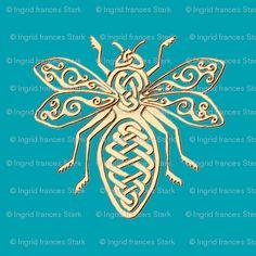 Celtic Bee Stencil - gold - Spoonflower custom fabrics
