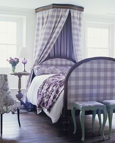 large lavender check mixed with prints and teal stools ~ fetching