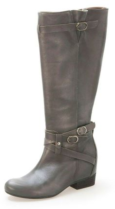 Cute womens gray leather riding boots, perfect with jeans or a skirt for fall, winter or spring 2013 - 2014! I really love the buckles and straps ♥ Get this look at @SPARKTREND for $45, click the image to see! #boots #shoes #fashion
