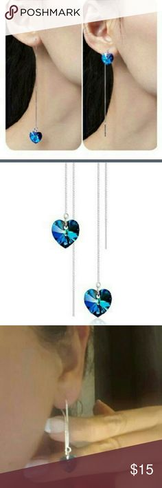 Earrings Crystal heart shaped and silver plated earrings.  They are great for an anniversary, engagement, , or a party.  They are beautiful and VIBRANT! Jewelry Earrings