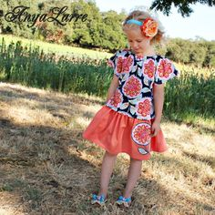 Girls Fall Flower Peasant Top and Skirt Set